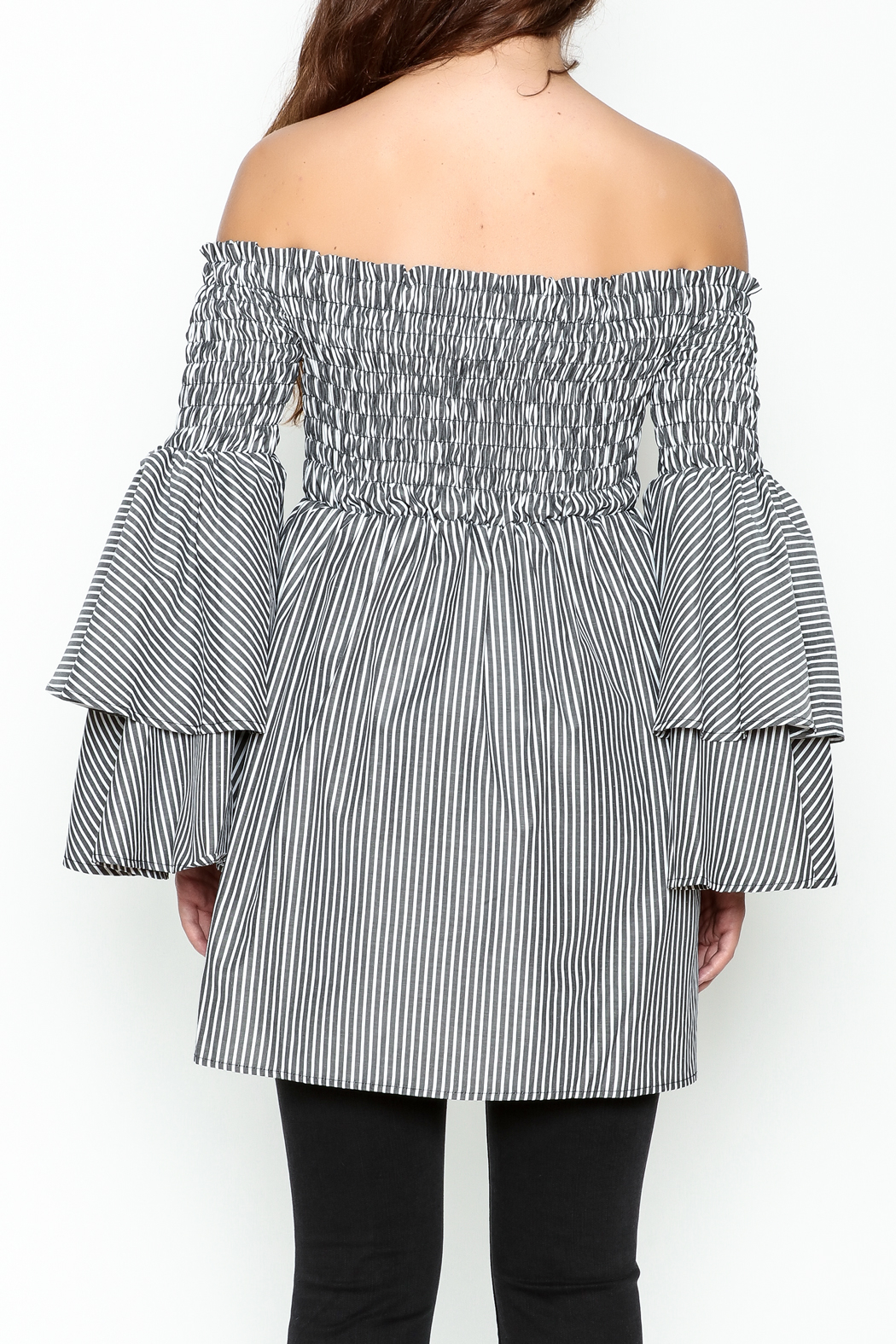 Latiste Bell Sleeve Stripe Tunic - Back Cropped Image