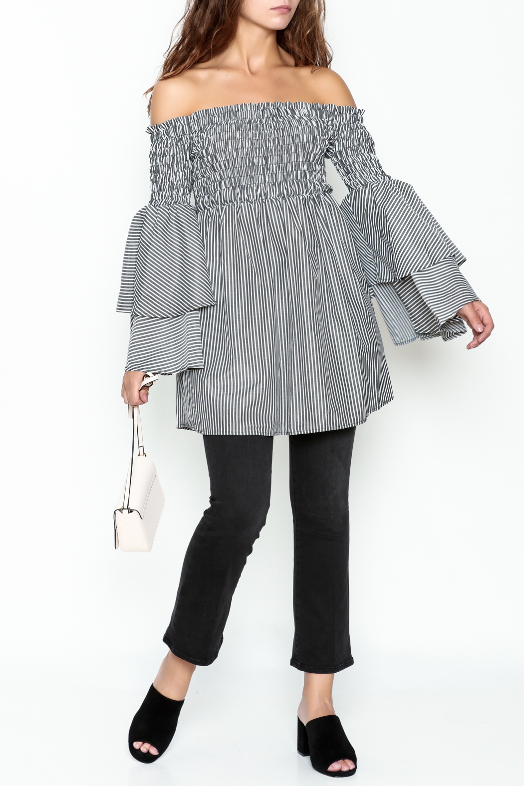 Latiste Bell Sleeve Stripe Tunic - Side Cropped Image