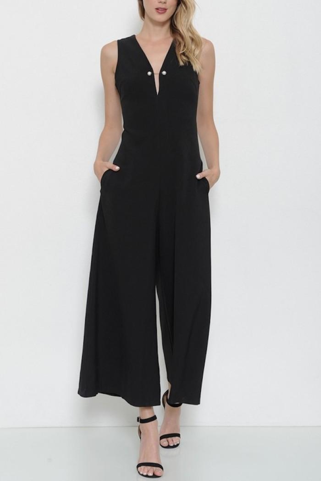 Latiste Black Pin Jumpsuit - Front Cropped Image