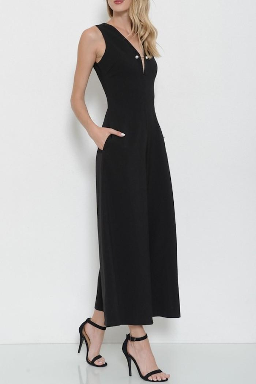 Latiste Black Pin Jumpsuit - Side Cropped Image