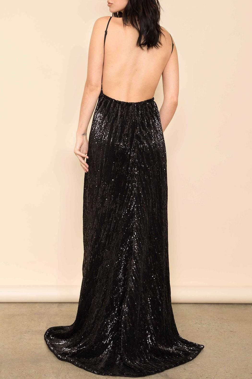 Latiste Black Sequin Gown - Side Cropped Image