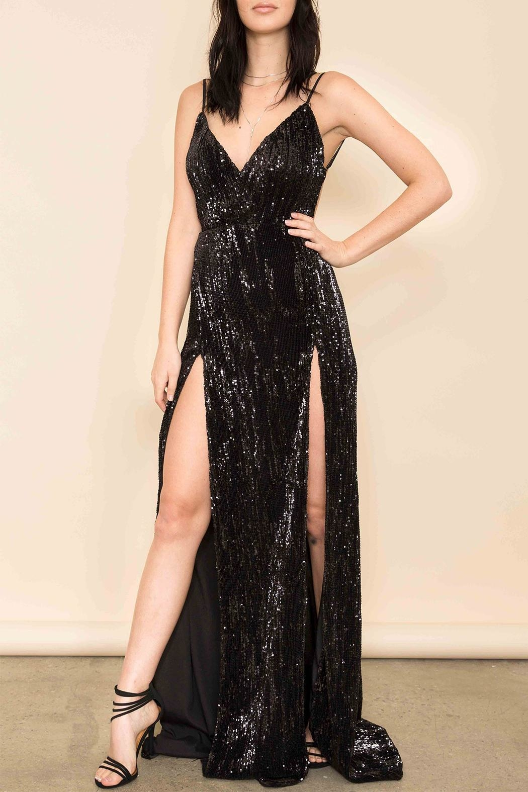 Latiste Black Sequin Gown - Main Image