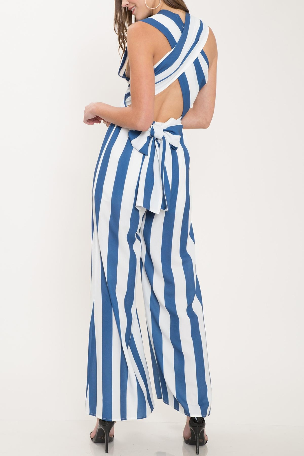 Latiste Blue Striped Jumpsuit - Front Full Image