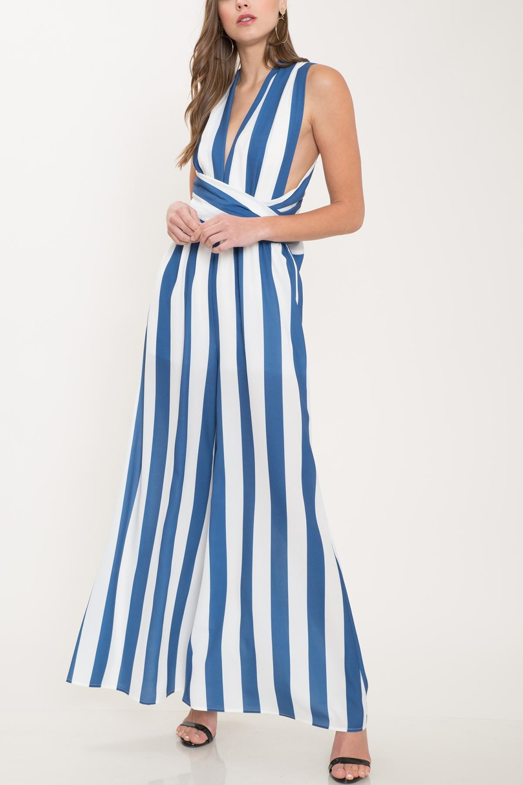 Latiste Blue Striped Jumpsuit - Main Image