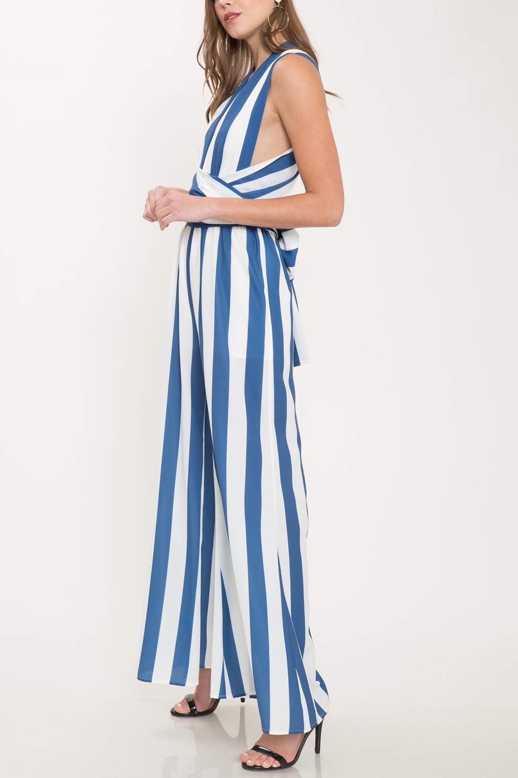 Latiste Blue Striped Jumpsuit - Side Cropped Image