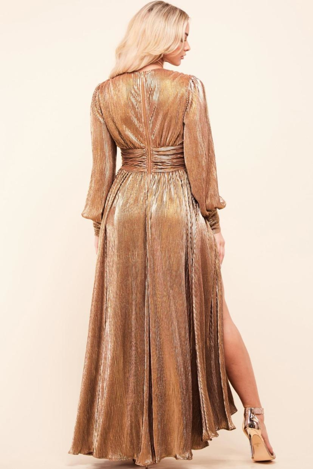 Latiste Bronze Pleated Dress - Side Cropped Image