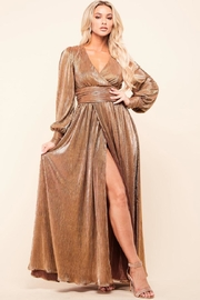Latiste Bronze Pleated Dress - Front cropped