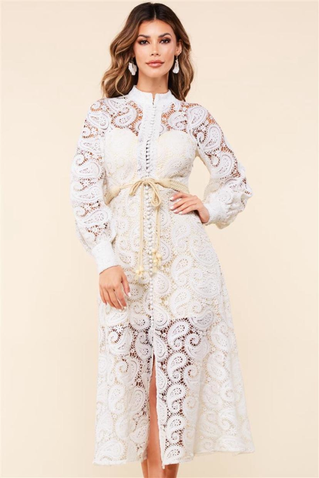 Latiste Button-Down Lace Dress - Main Image