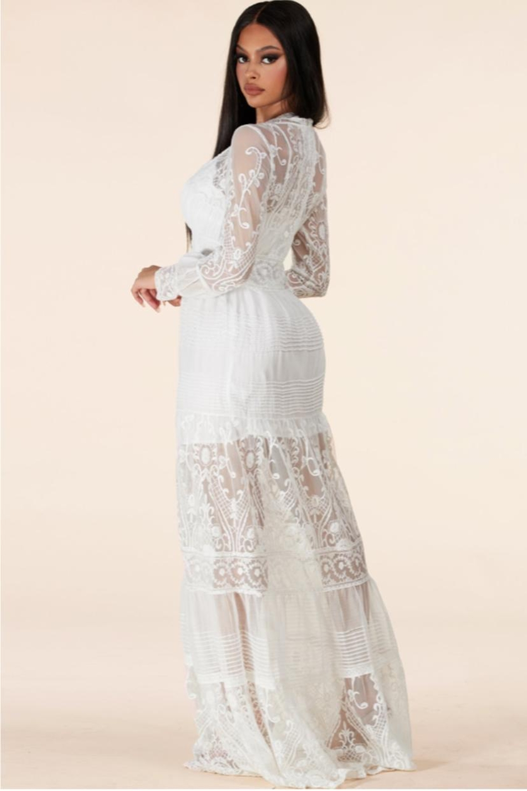 Latiste Button-Down Lace Maxi - Side Cropped Image