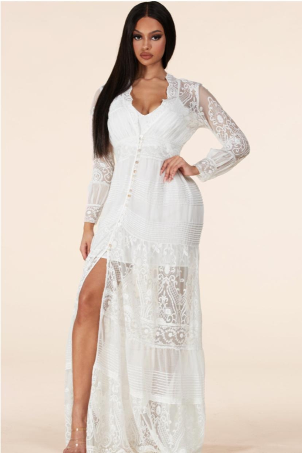 Latiste Button-Down Lace Maxi - Front Full Image