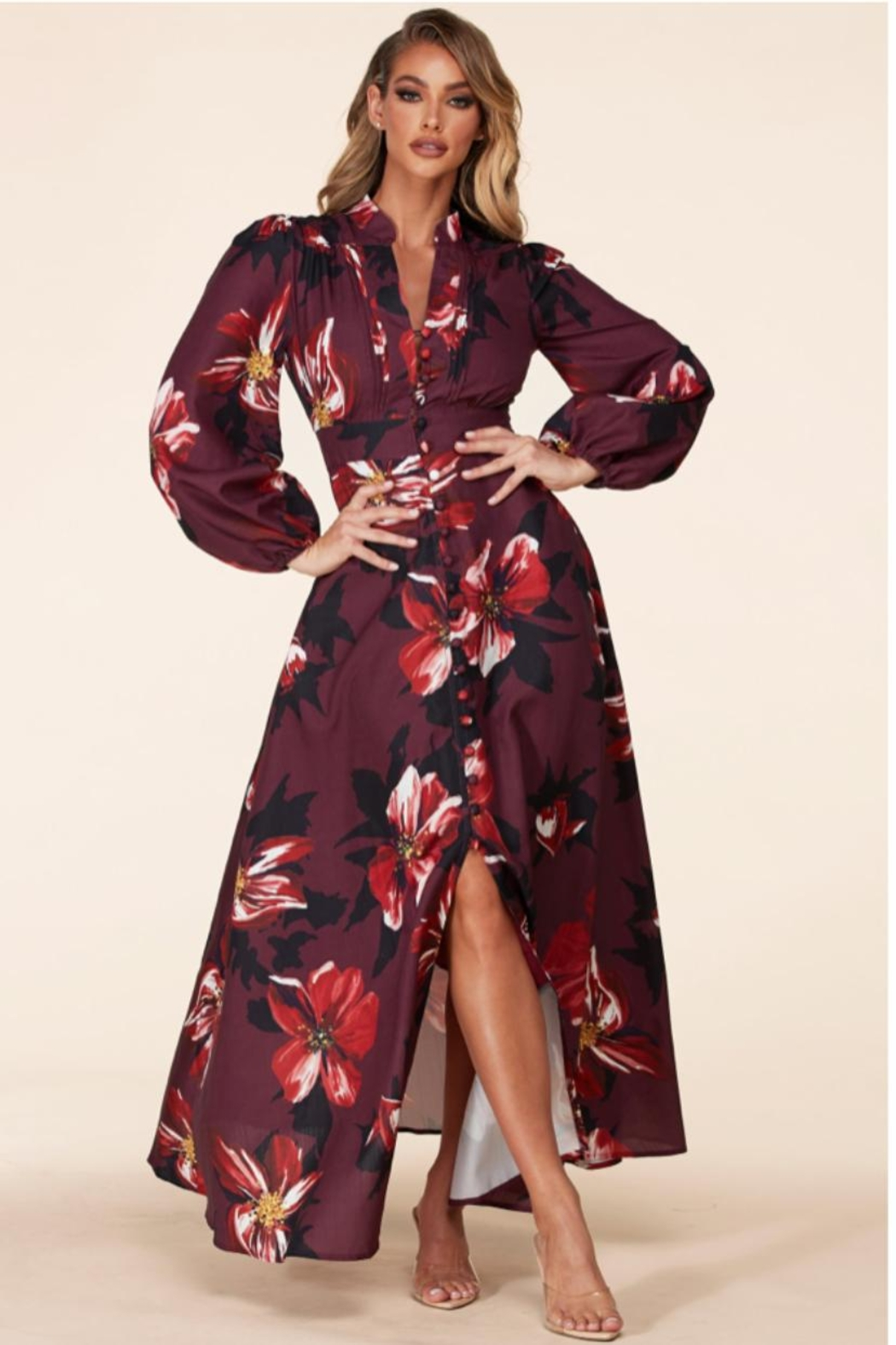 Latiste Button-Up Floral Dress - Main Image