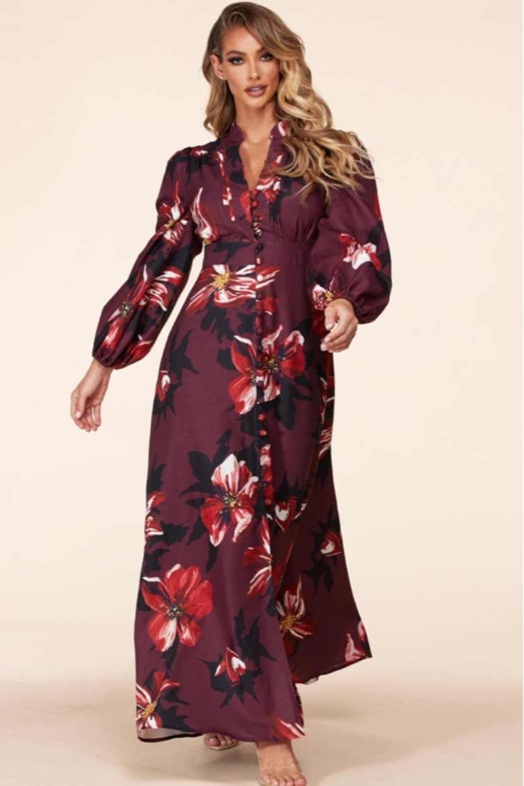 Latiste Button-Up Floral Dress - Front Full Image
