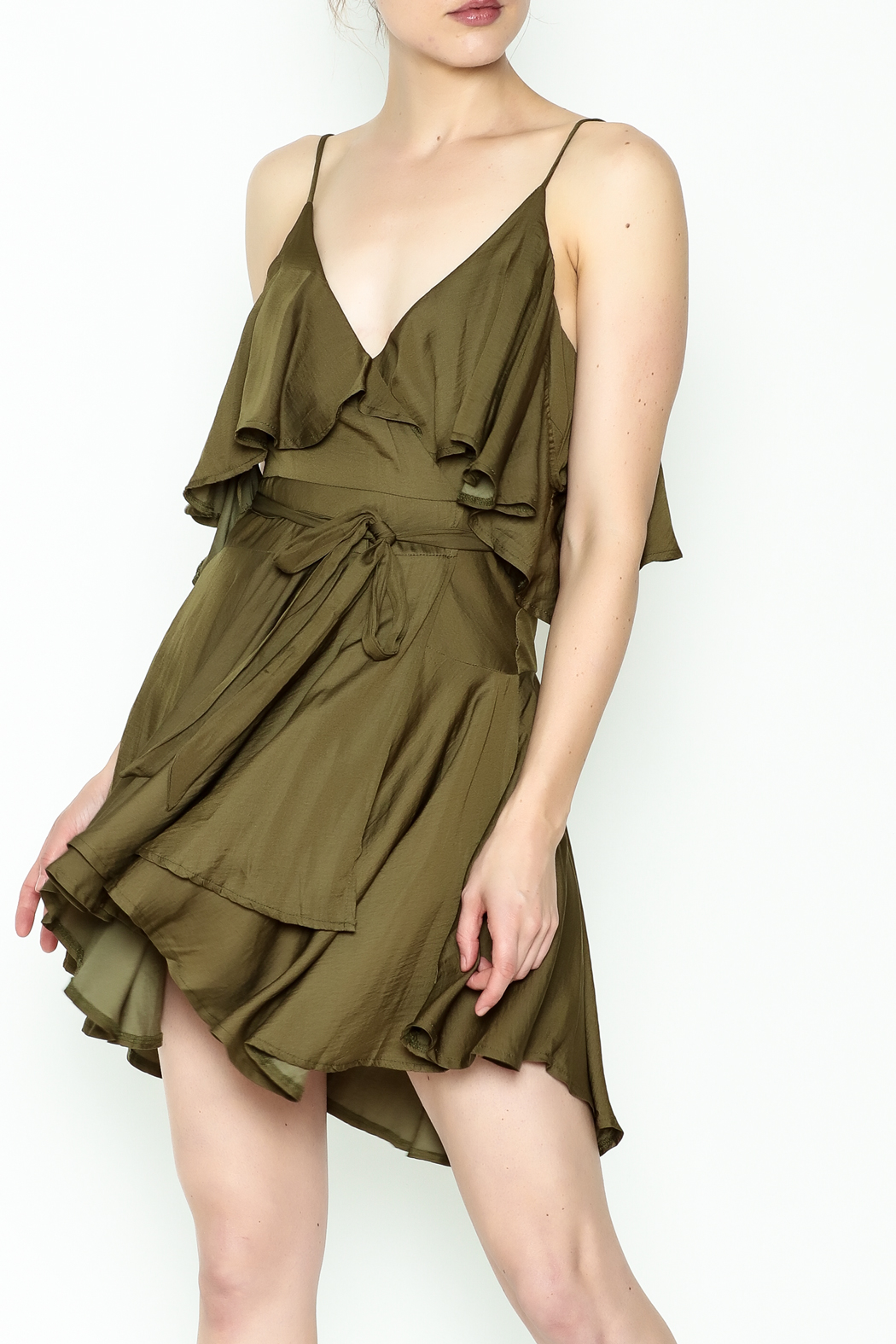 Latiste Satin Ruffle Dress - Front Cropped Image
