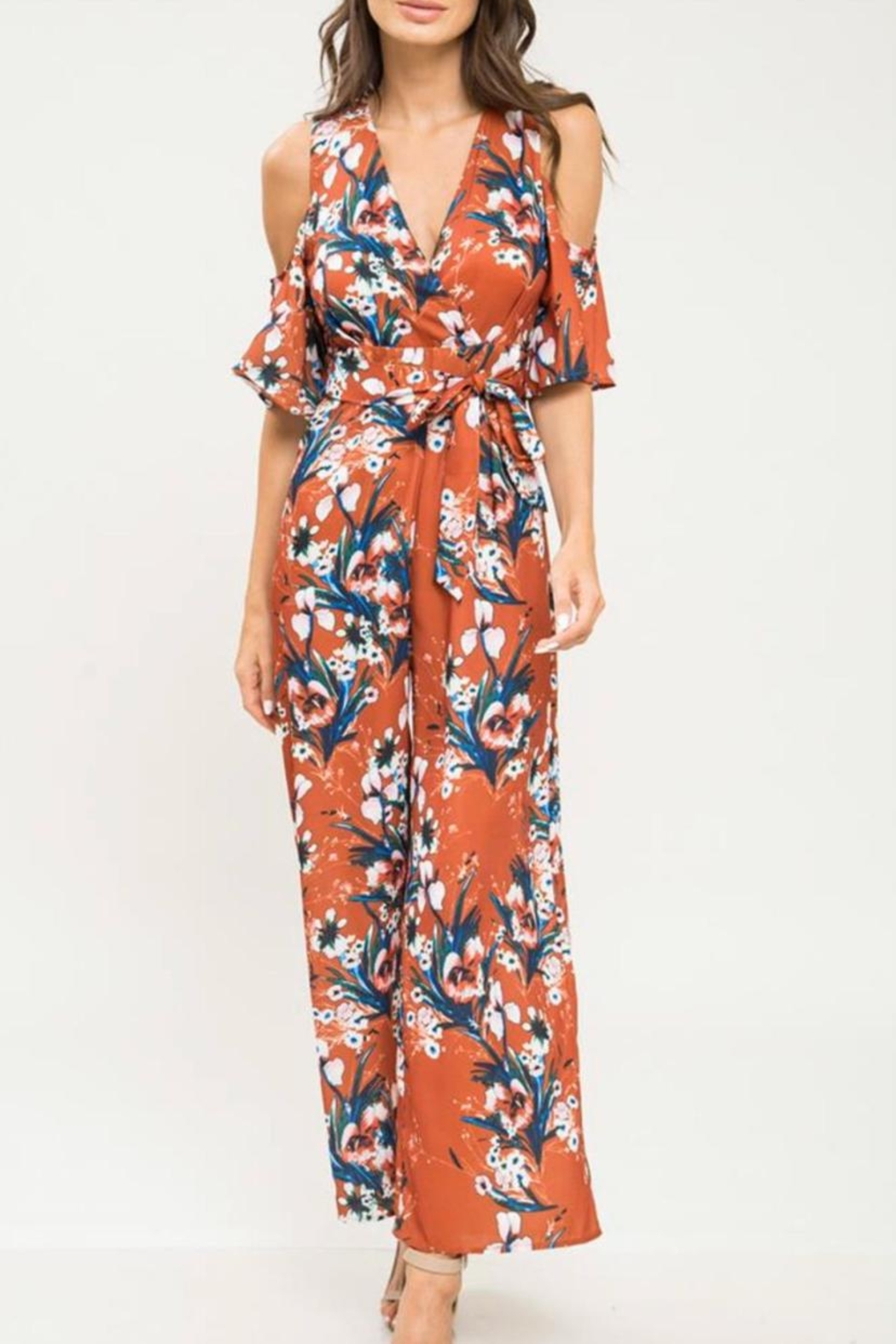 Latiste Cold-Shoulder Floral Jumpsuit - Front Cropped Image