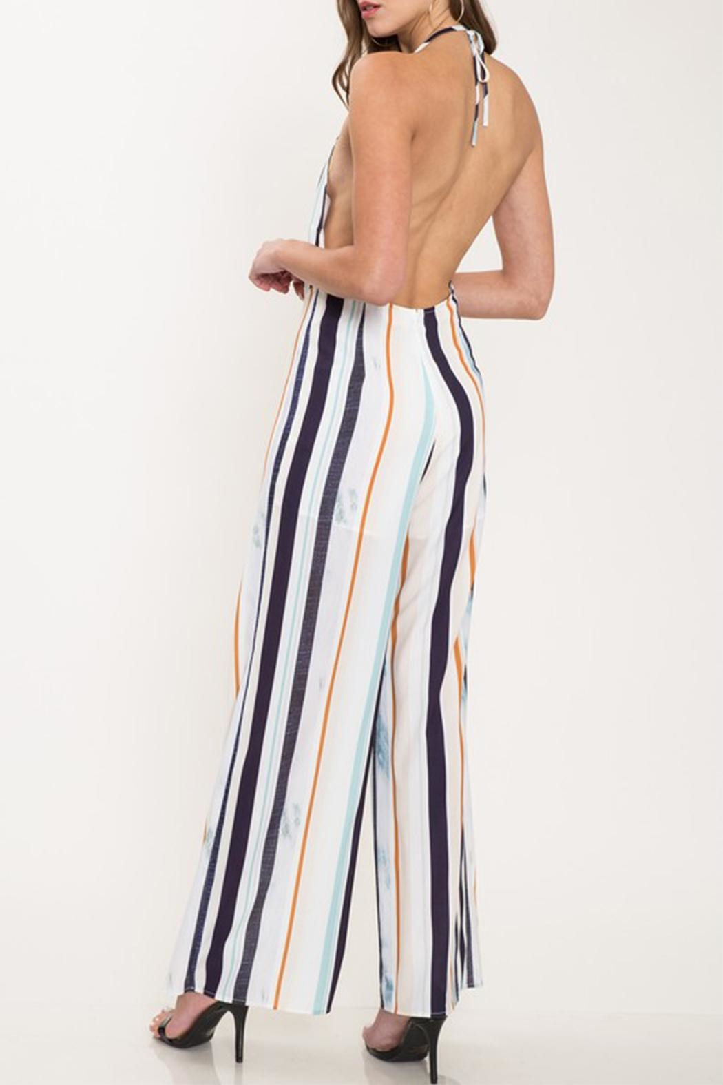 Latiste Colorful Stripe Jumpsuit - Back Cropped Image