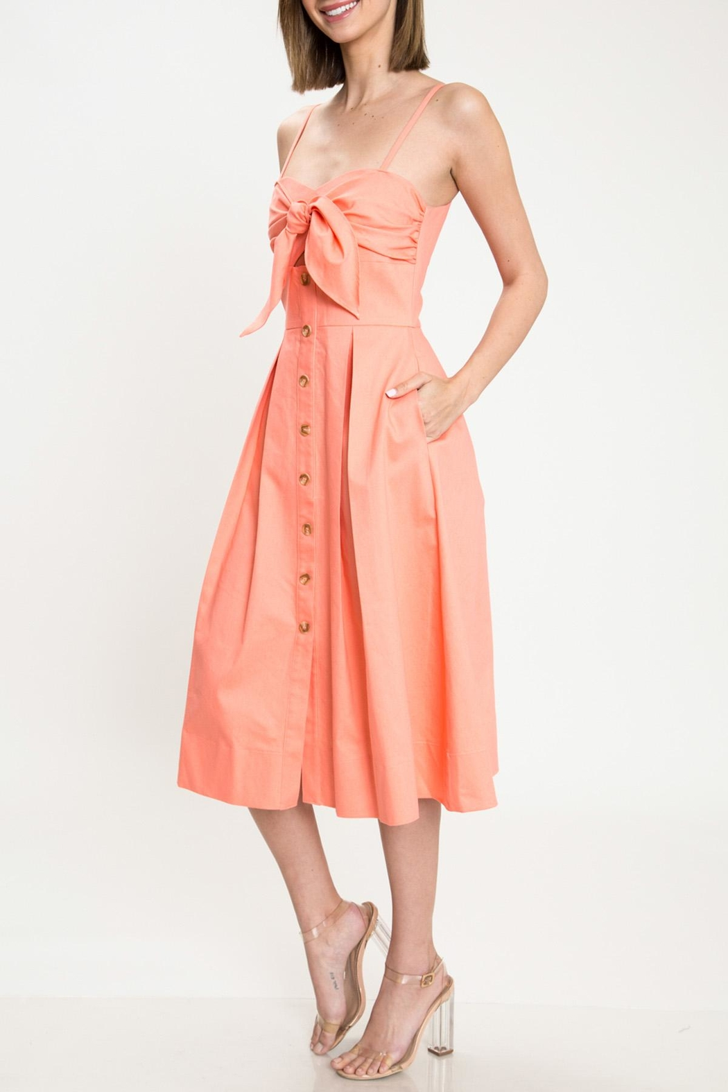 Latiste Coral Bow Dress - Front Full Image