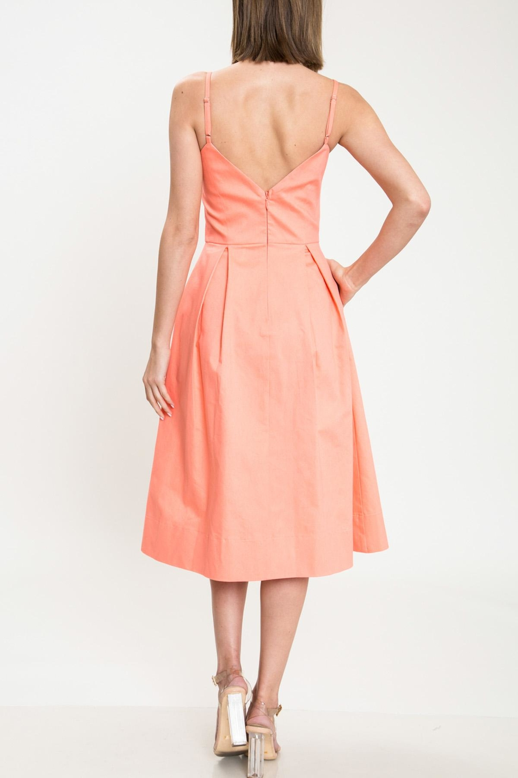 Latiste Coral Bow Dress - Side Cropped Image