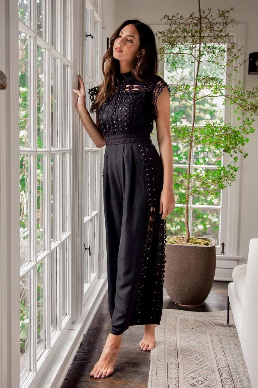 Latiste Crochet Trim Jumpsuit - Front Full Image