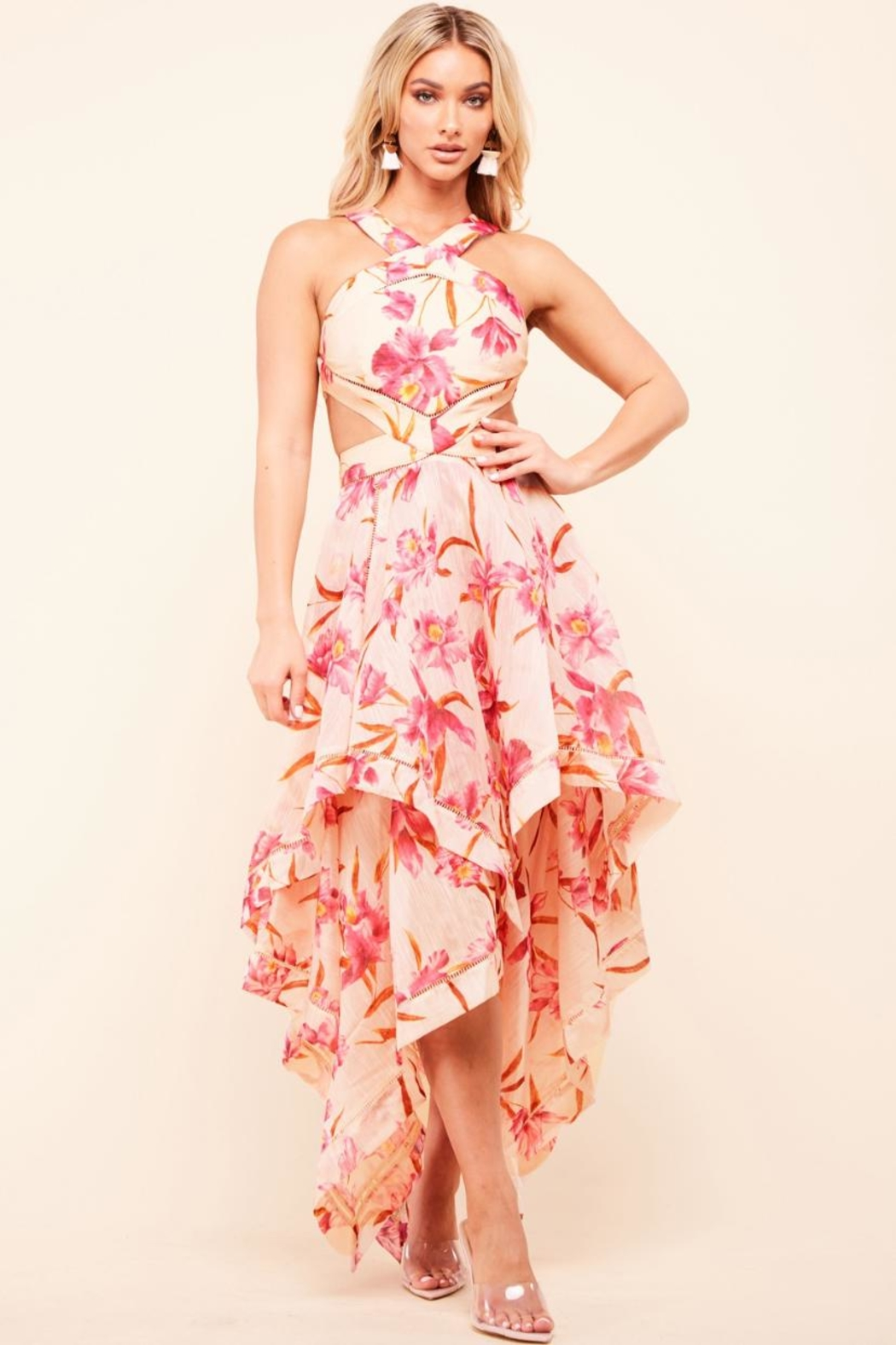 Latiste Cut-Out Floral Dress - Main Image