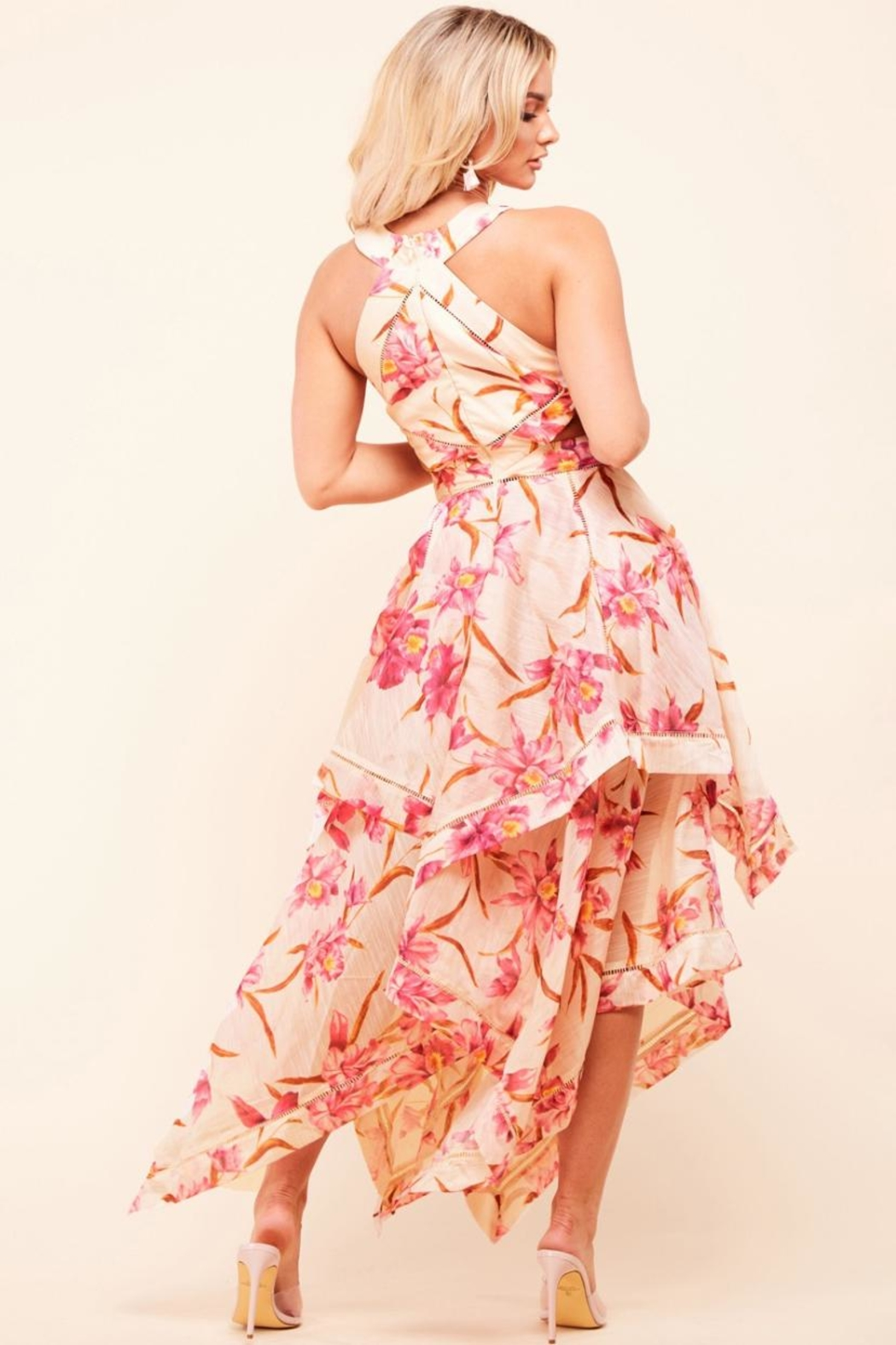 Latiste Cut-Out Floral Dress - Front Full Image