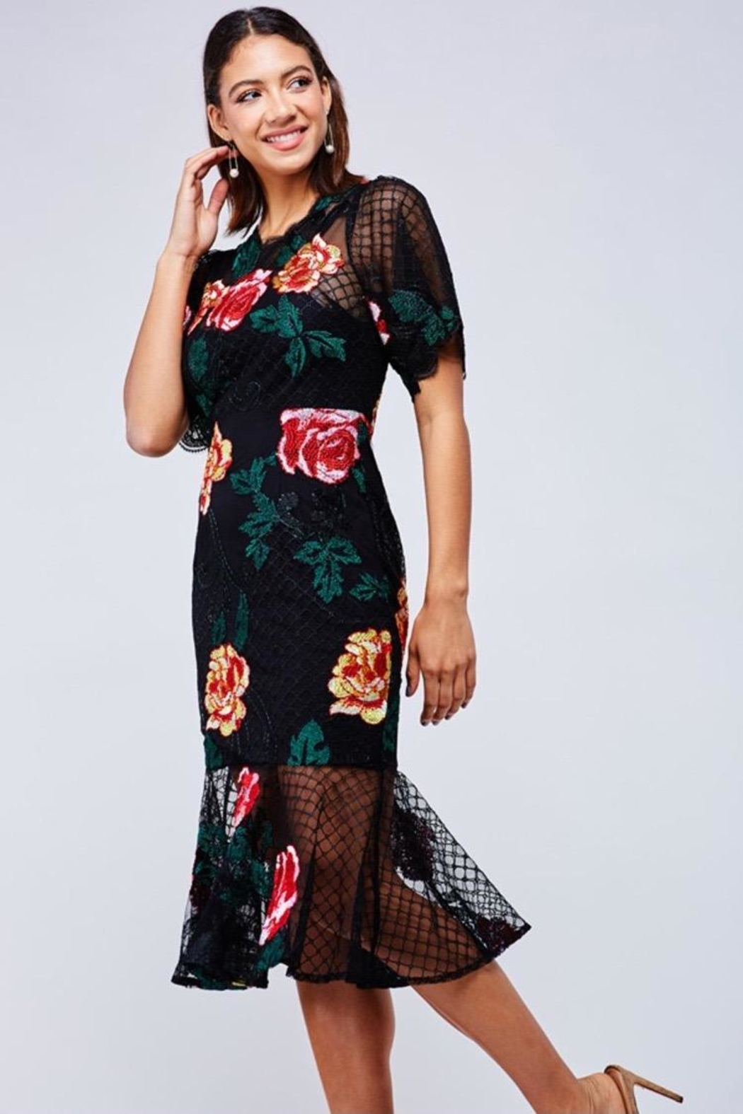 Latiste Floral Embroidered Midi-Dress - Main Image