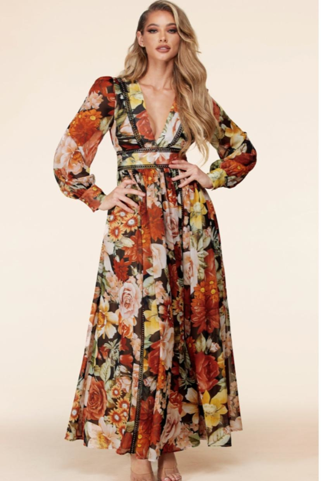 Latiste Floral Maxi Dress - Front Cropped Image