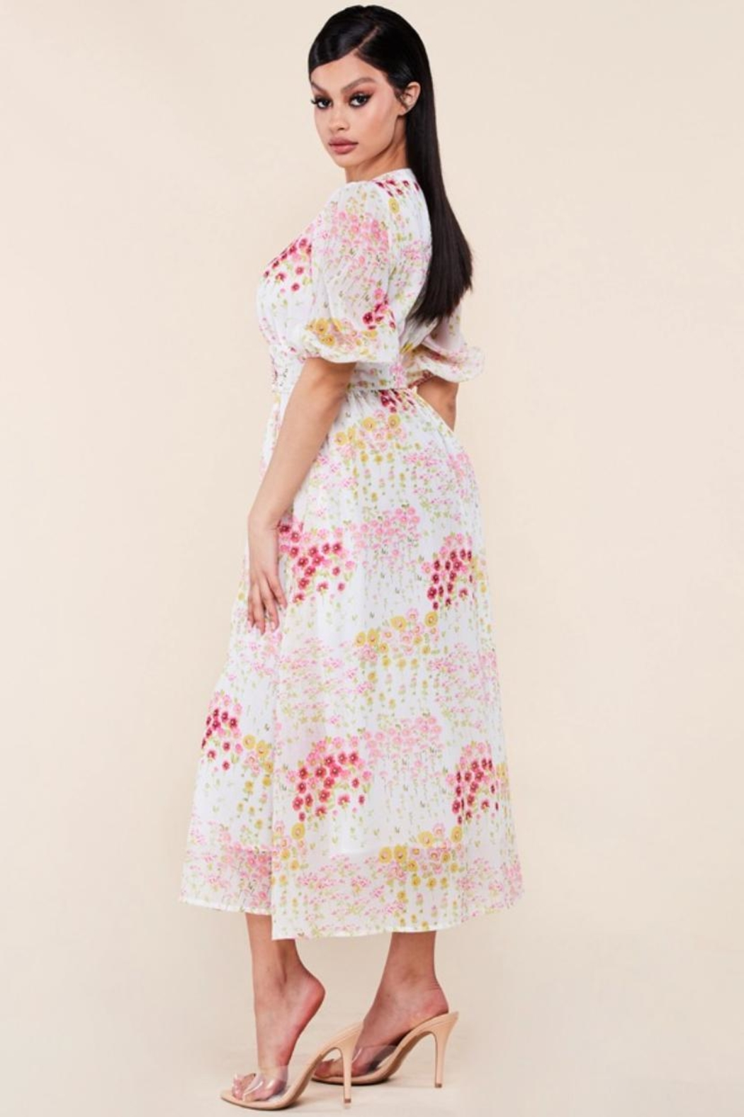 Latiste Floral Midi Dress - Front Full Image