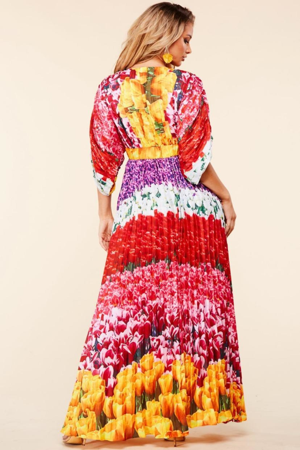 Latiste Floral Pleated Maxi - Front Full Image