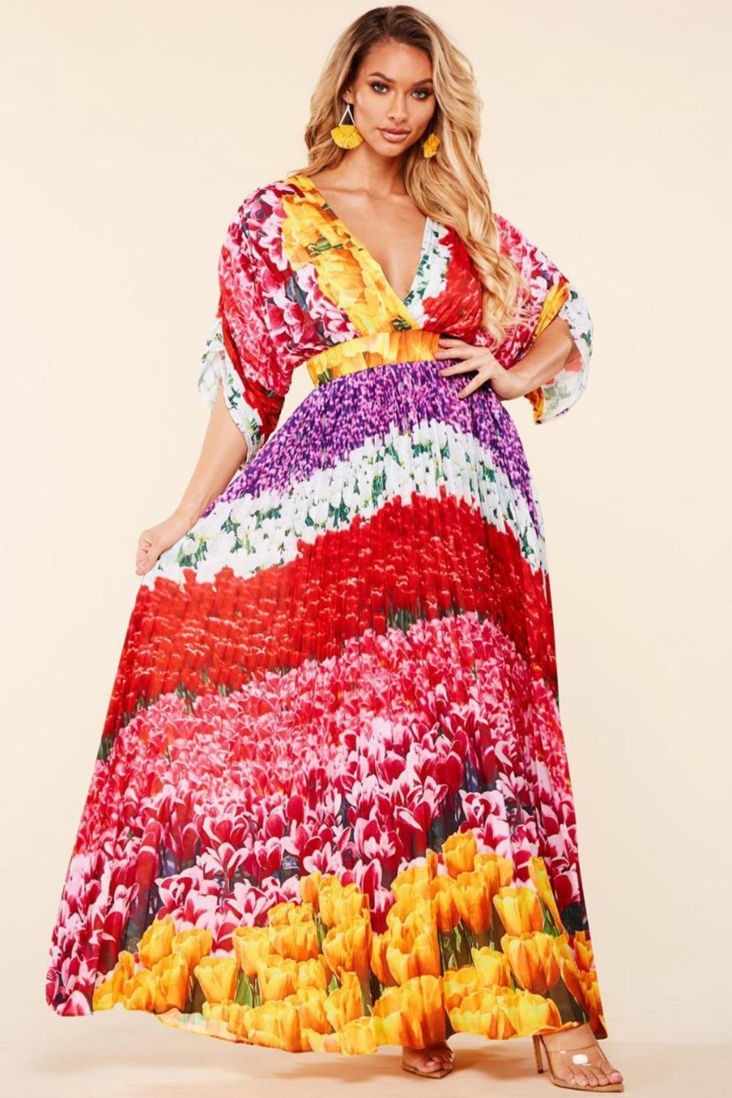 Latiste Floral Pleated Maxi - Main Image