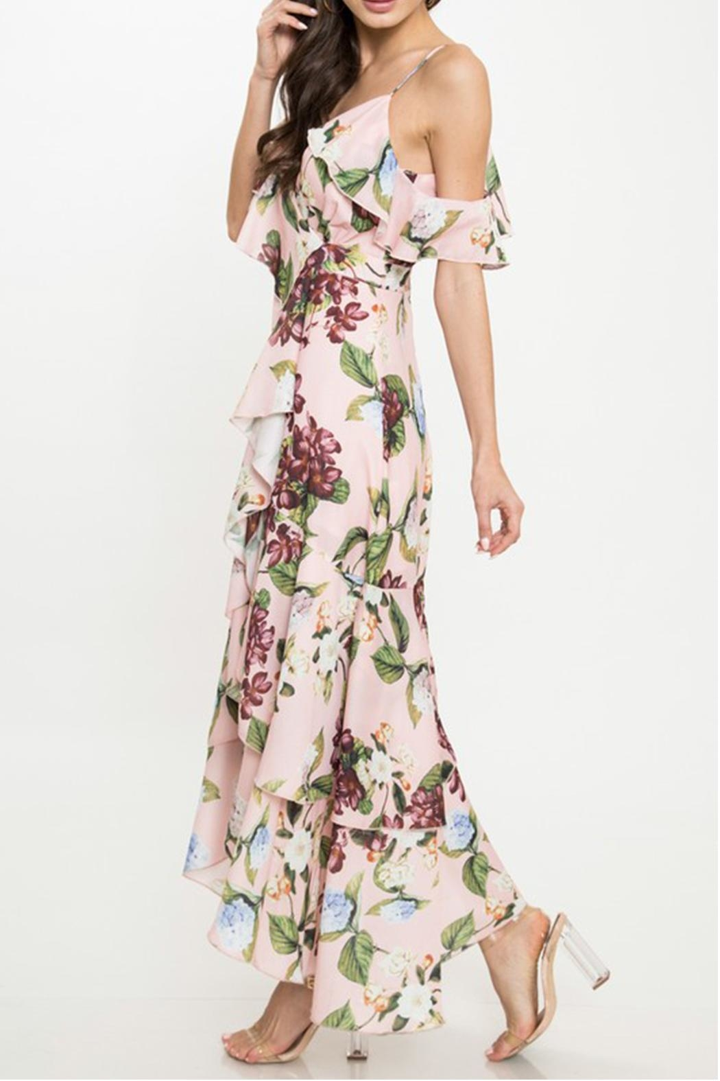 Latiste Floral Ruffle Dress - Side Cropped Image