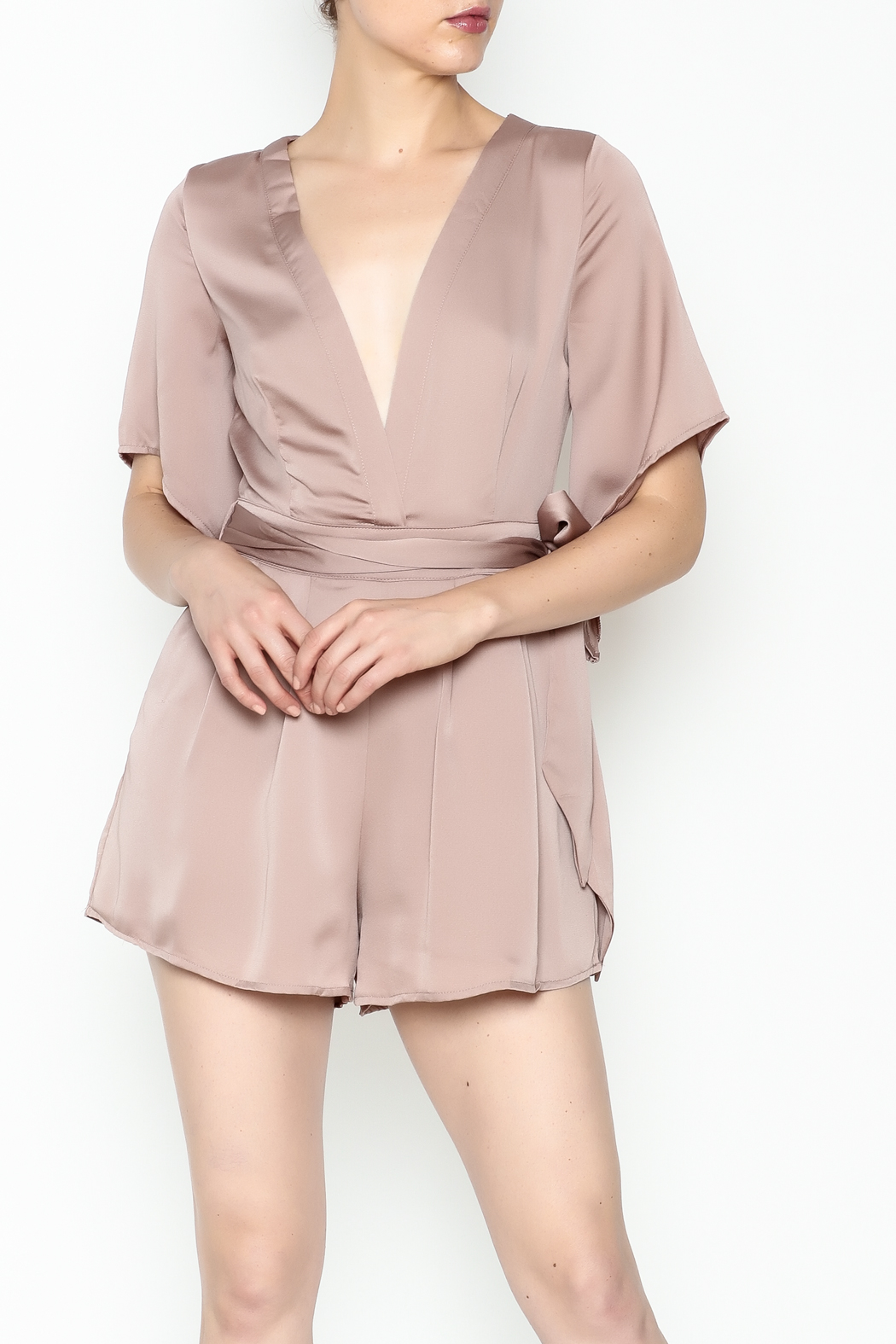 Latiste Front Tie Romper - Front Cropped Image