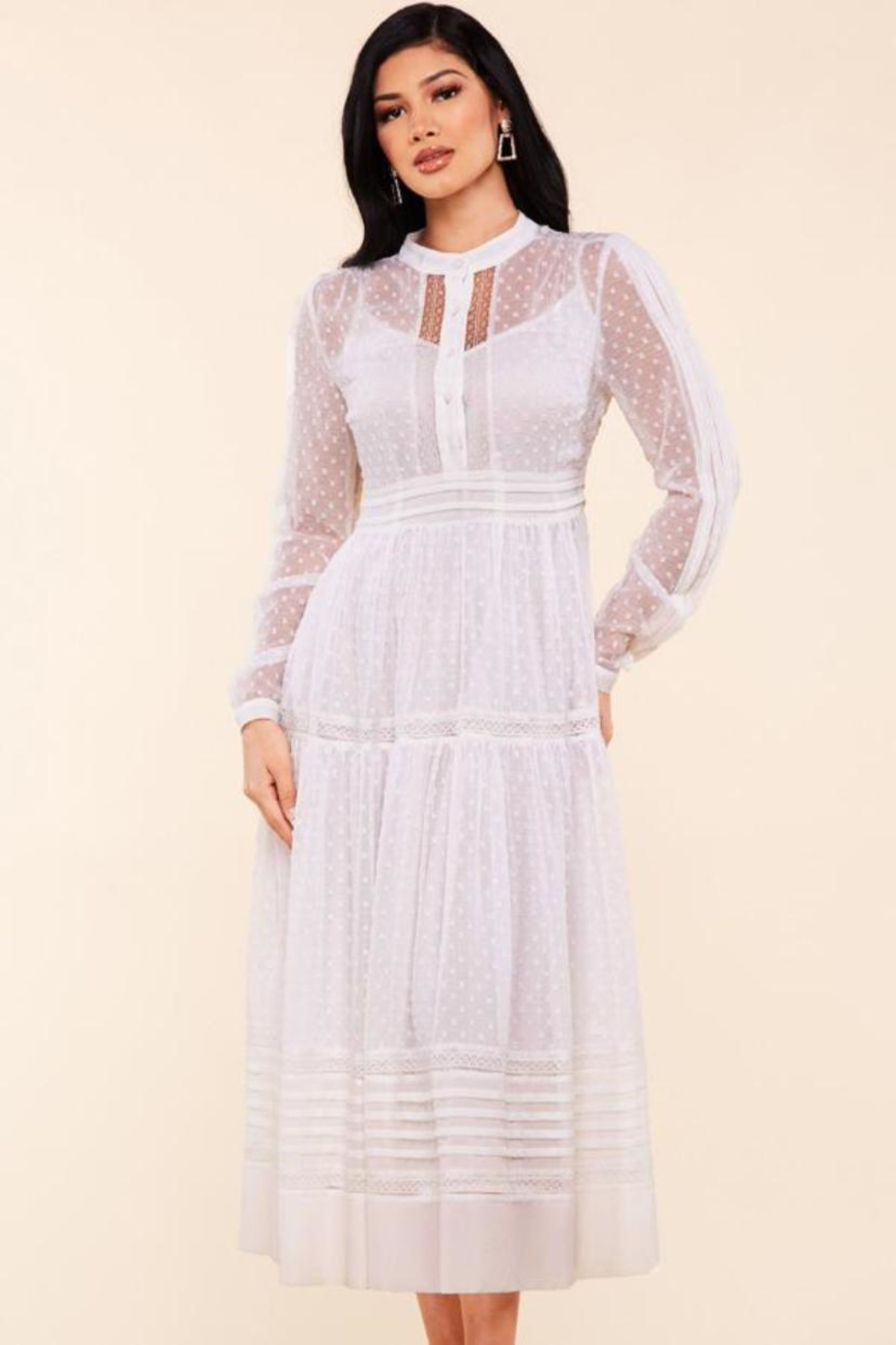 Latiste Lace Trim Dress - Front Cropped Image