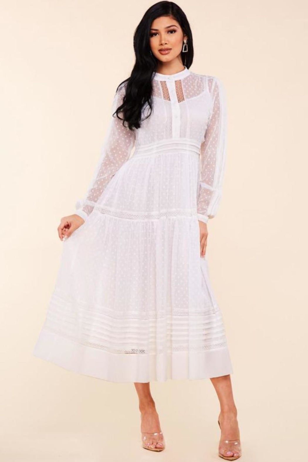 Latiste Lace Trim Dress - Front Full Image