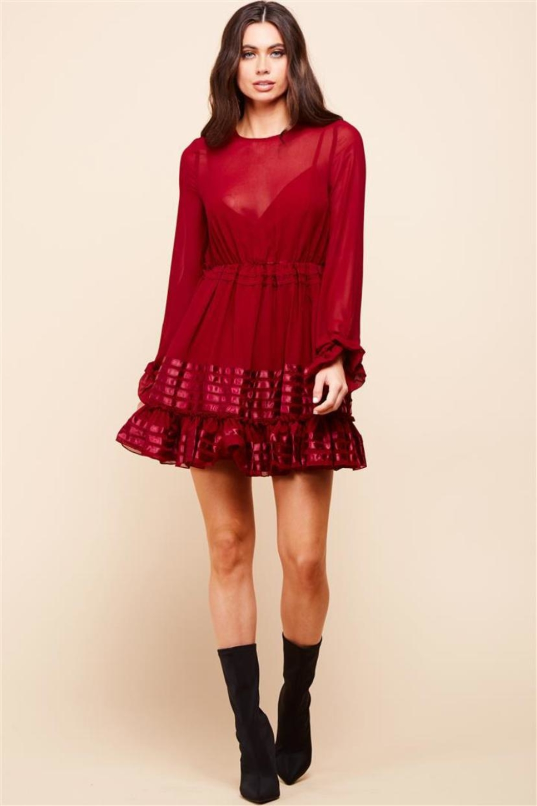 Latiste Long-Sleeve Burgundy Dress - Front Cropped Image
