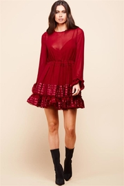 Latiste Long-Sleeve Burgundy Dress - Front cropped