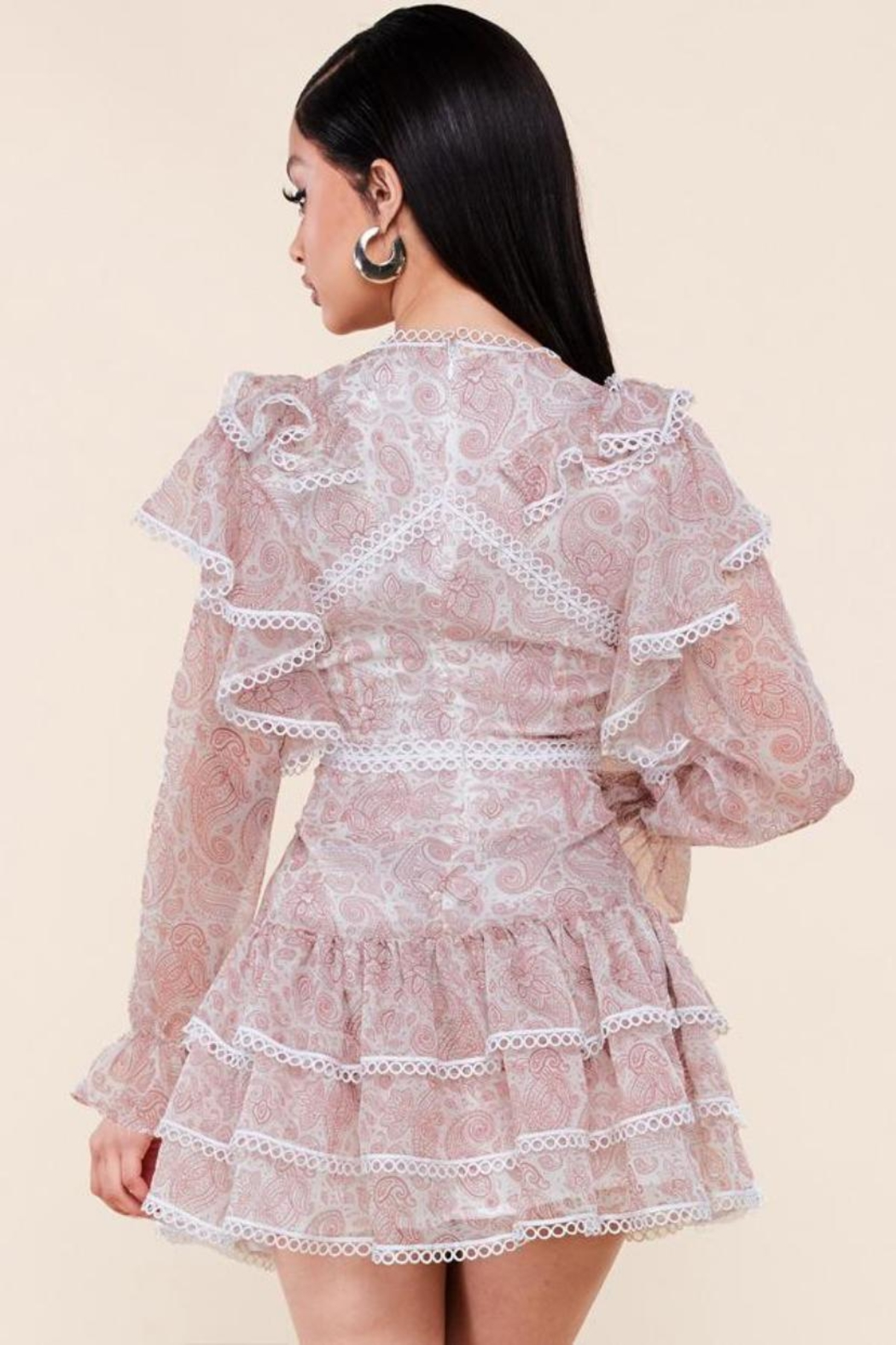 Latiste Long-Sleeve Paisley Dress - Front Full Image