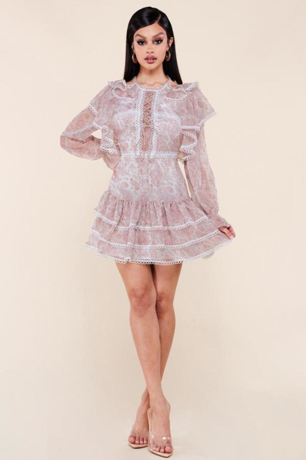 Latiste Long-Sleeve Paisley Dress - Front Cropped Image