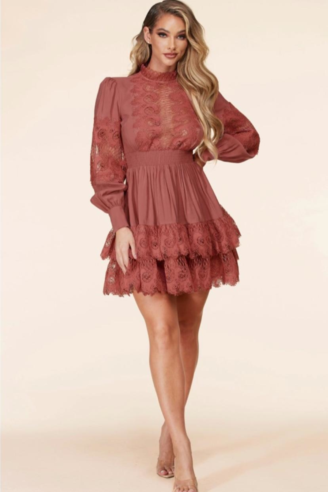 Latiste Mauve Rose Dress - Front Cropped Image