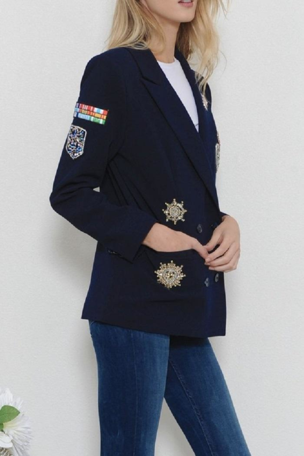 Latiste Navy Patch Blazer - Side Cropped Image