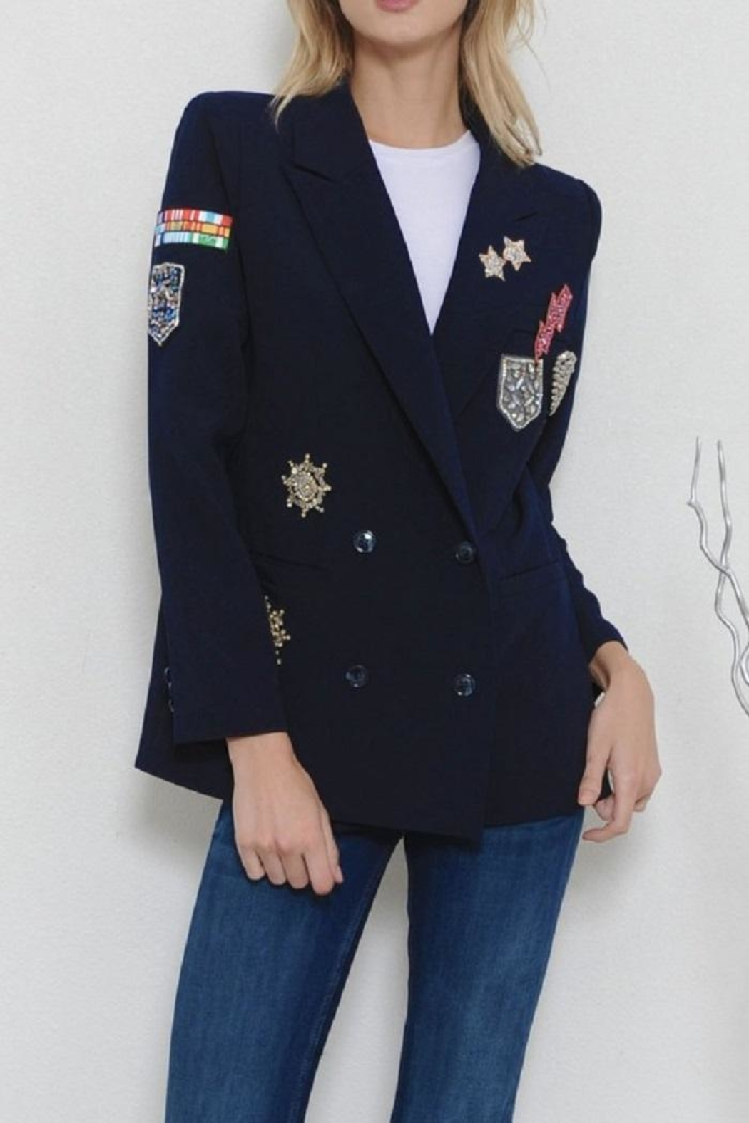 Latiste Navy Patch Blazer - Front Cropped Image