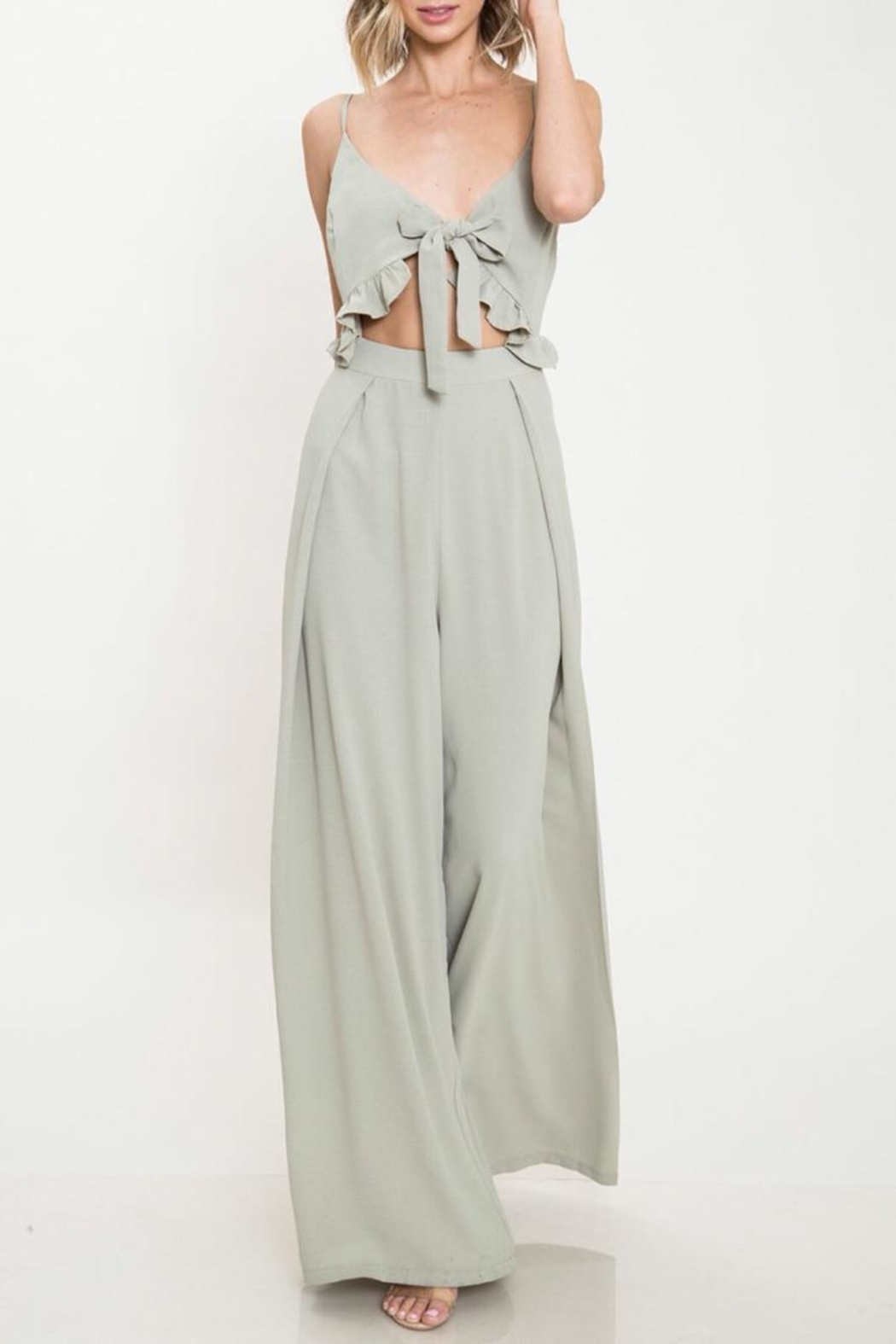 Latiste Olive Tie Jumpsuit - Front Cropped Image