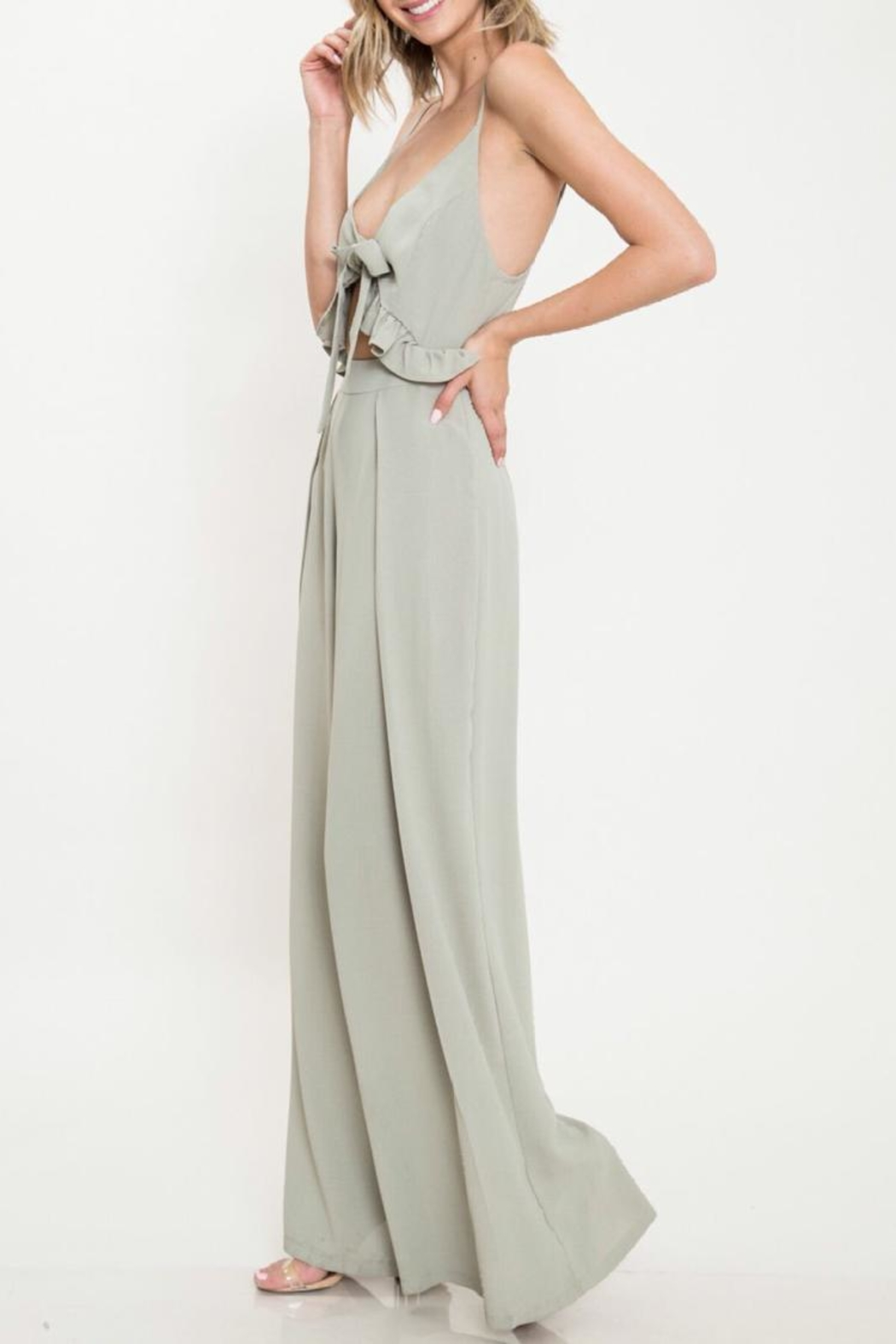 Latiste Olive Tie Jumpsuit - Front Full Image