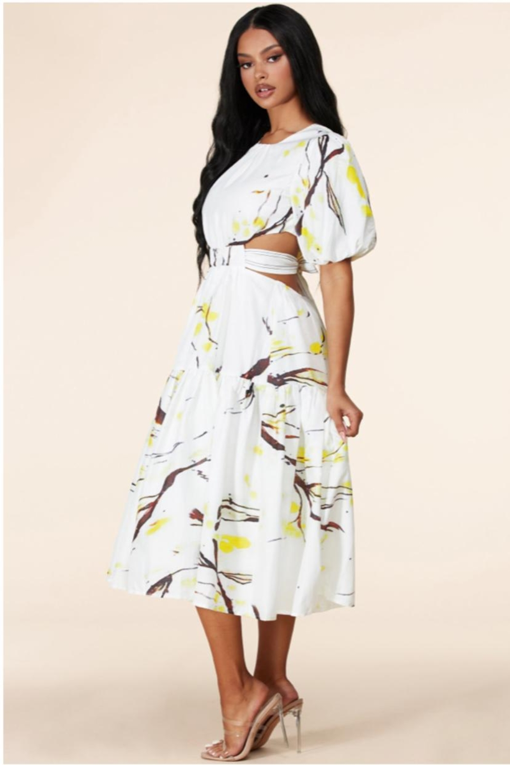 Latiste Open-Back Abstract Dress - Side Cropped Image