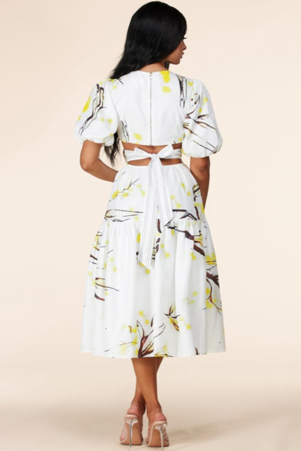 Latiste Open-Back Abstract Dress - Back Cropped Image
