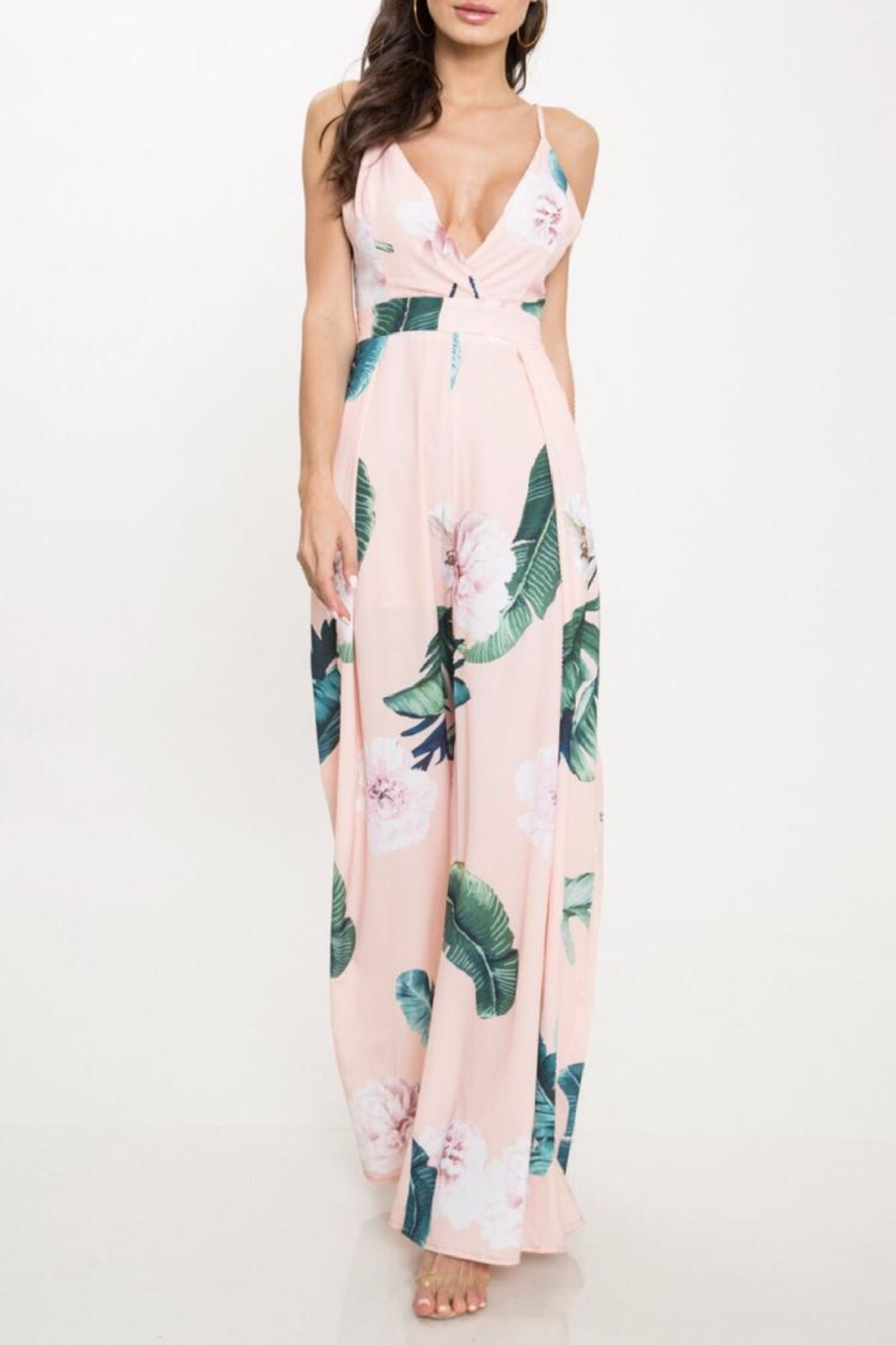 afa4aa9ba07 Latiste Peach Floral Jumpsuit from Los Angeles by Chikas — Shoptiques