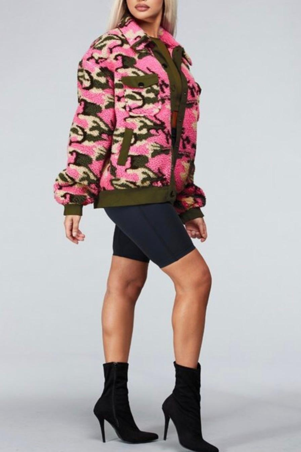 Latiste Pink Camouflage Teddy Coat - Side Cropped Image
