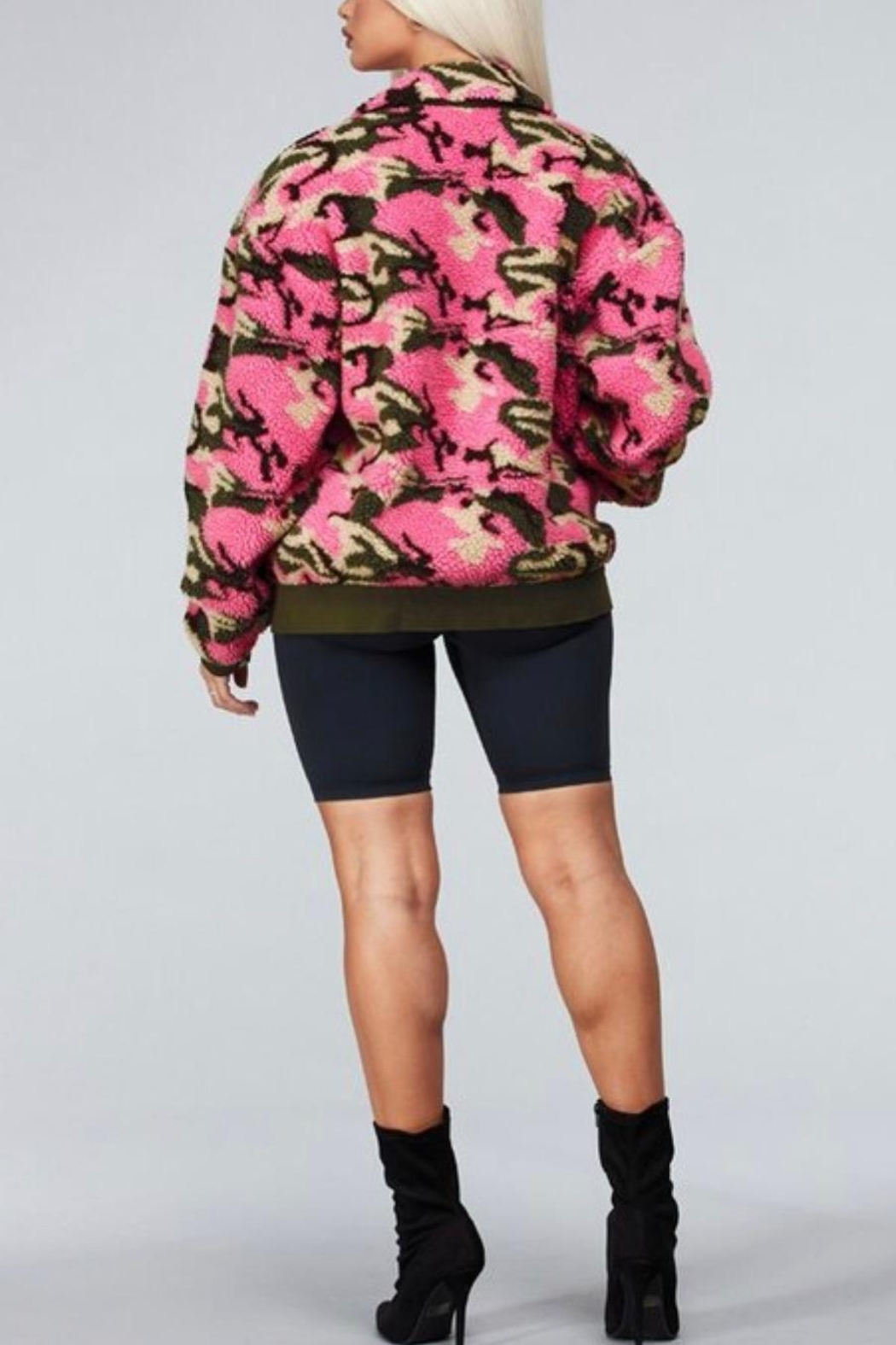 Latiste Pink Camouflage Teddy Coat - Back Cropped Image