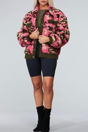 Latiste Pink Camouflage Teddy Coat - Front full body