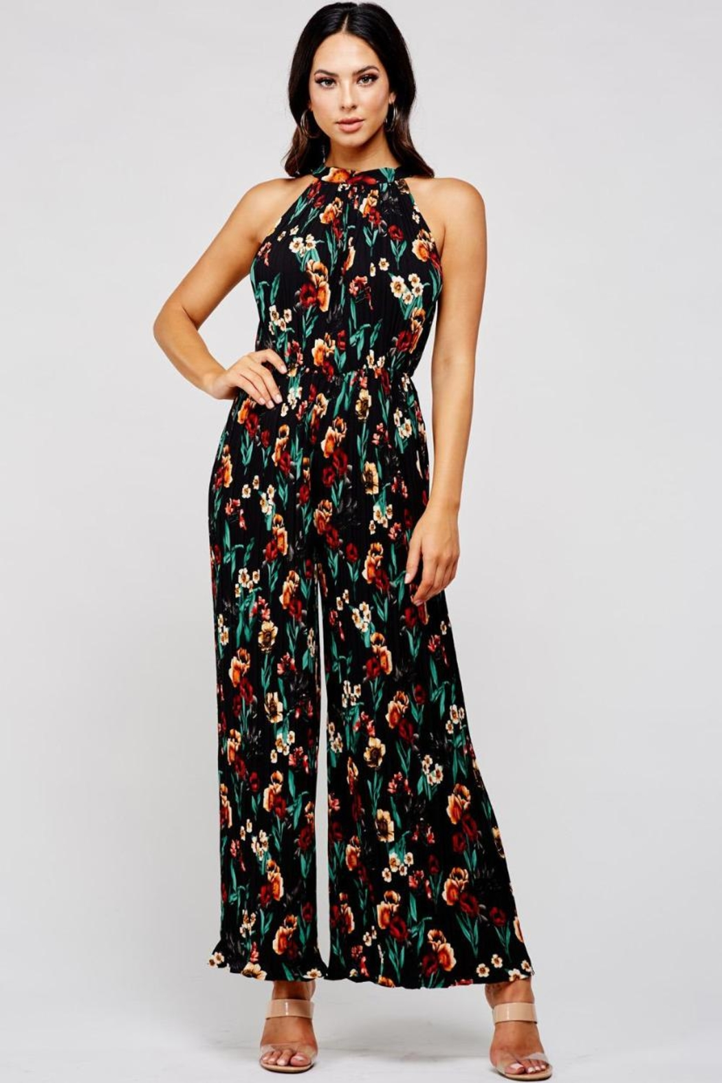 Latiste Pleated Floral Jumpsuit - Front Cropped Image
