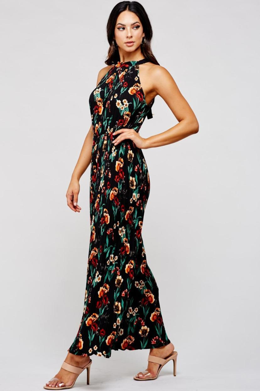 Latiste Pleated Floral Jumpsuit - Front Full Image